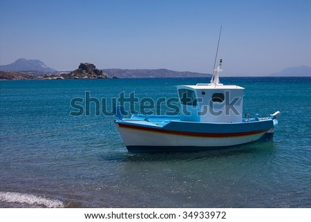 Greek Fishing Boat in the Sea, Greece, Kos Island - stock photo