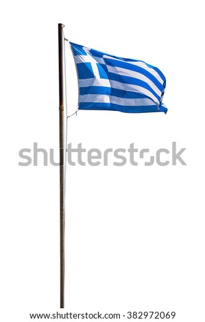 Greek flag isolated on white background with clipping path - stock photo