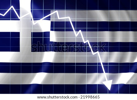 Greek flag waving in the wind: crisis - stock photo