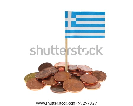 Greek Flag With Euro Coins Isolated on White Background - stock photo