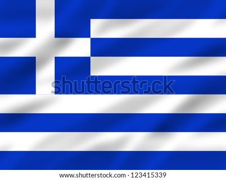 greek flag with some folds in it - stock photo