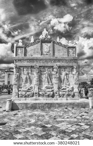 Greek Fountain, iconic landmark in Gallipoli, Salento, Apulia, Italy