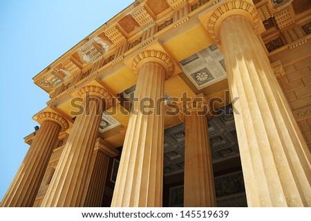 greek freestone columns - stock photo
