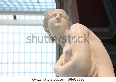 Greek goddess marble statue - stock photo