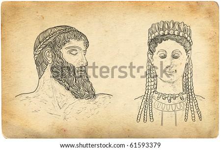 Greek Gods illustration - stock photo