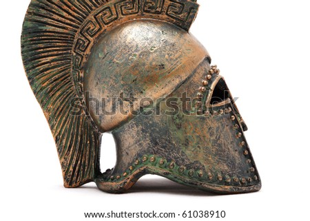 Greek helmet in a profile isolated on a white background - stock photo