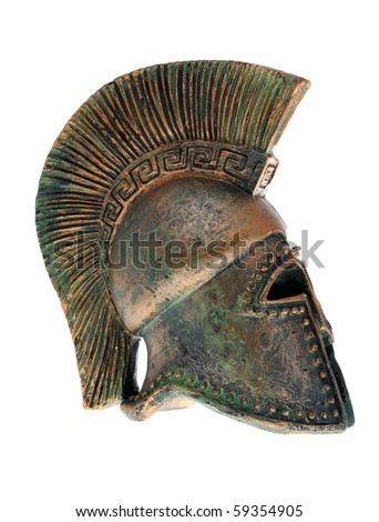 Greek helmet isolated on a white background. - stock photo