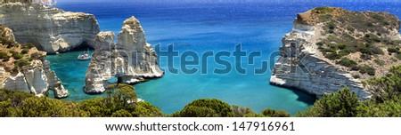 Greek holidays - beautiful island Milos - Kleftiko bay ,big panorama. - stock photo