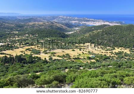 Greek island of Kefalonia and the capital city of Argosoli - stock photo
