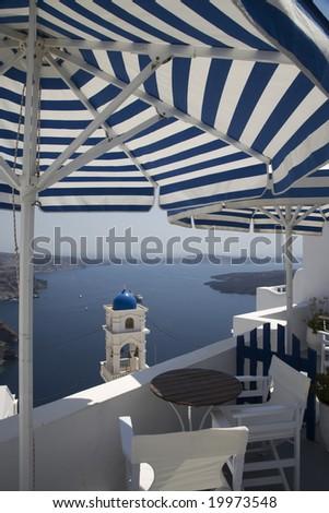 greek island patio with incredible view santorini greece - stock photo