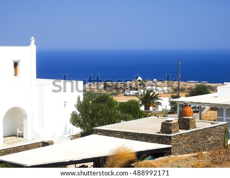 Greek Island Sifnos view of Aegean Mediterranean Sea with typical Cyclades white block architecture