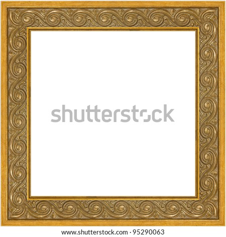Greek meander square golden frame. Square golden frame isolated on white background, clipping path for easier inserting included inside the frame.
