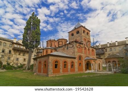 Greek Monastery Filotheou on Mount Athos, Chalkidiki, Greece - stock photo