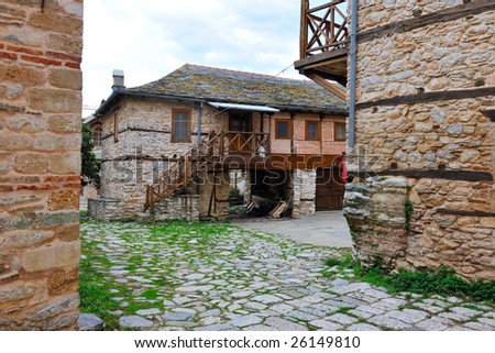 Greek Monastery on Mount Athos, Chalkidiki, Greece - stock photo