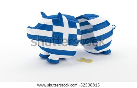 Greek money pig breaked illustration rendering - stock photo