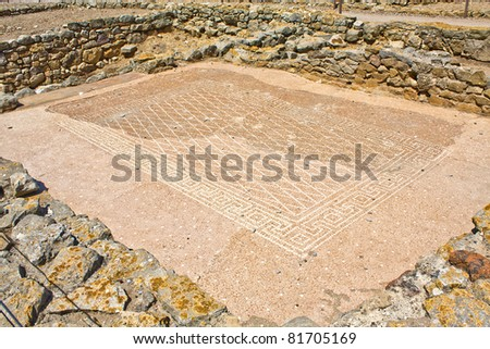 Greek mosaic in the Ampurias ruins, Catalonia, Spain