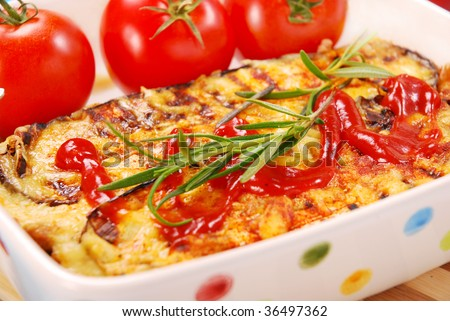 greek moussaka with aubergine,meat and cheese