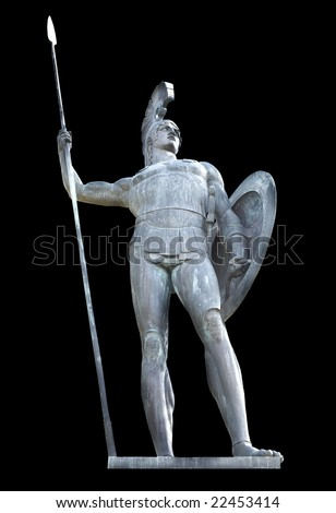 Greek mythical Achilles statue isolated. Achilleio palace, Corfu, Greece
