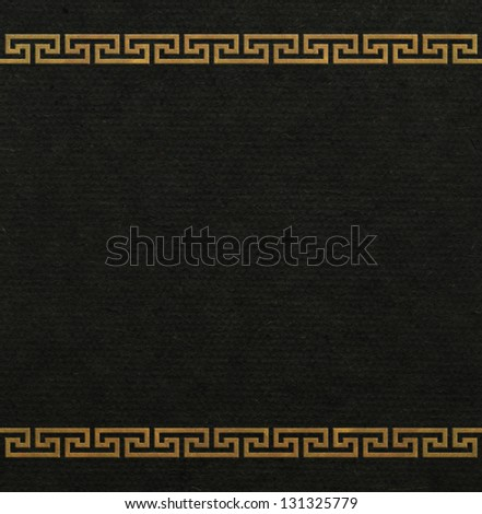 Greek ornament on black background - stock photo
