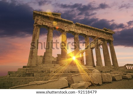 Greek Parthenon temple at sunset - stock photo