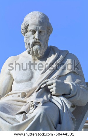 Greek philosopher Plato statue - stock photo
