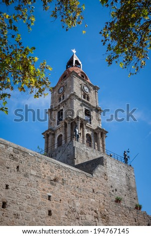 Greek pictorial orthodox church at Rhodes island - stock photo