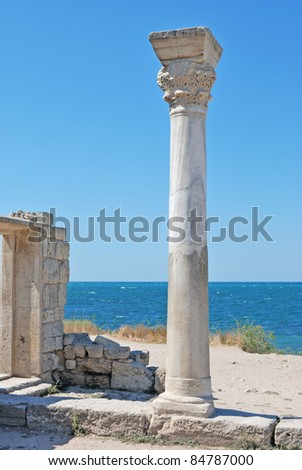 greek pillar in ruins of the ancient temple