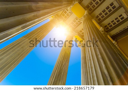 Greek pillars from the Zappeion megaron in Athens,Greece - stock photo