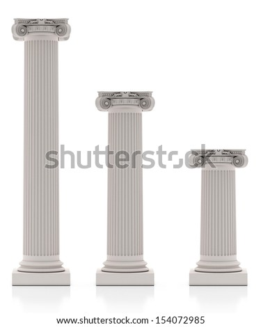 Greek Pillars three Size, Isolated on White Background - stock photo