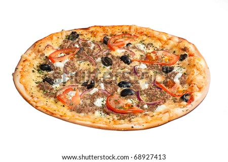 Greek pizza isolated on white - stock photo