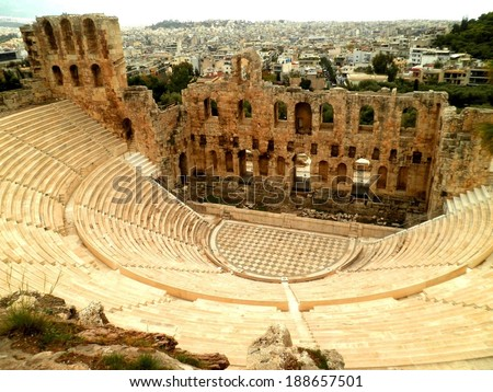 Greek ruins of amphitheater attraction, Athens. - stock photo