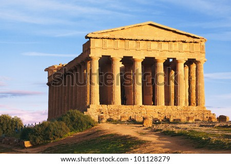 Greek ruins on the hill - stock photo
