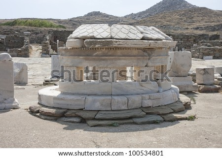 Greek ruins on the island of Delos,Greece. - stock photo