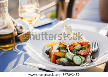 Greek salad as it can be served in Limassol, Cyprus.