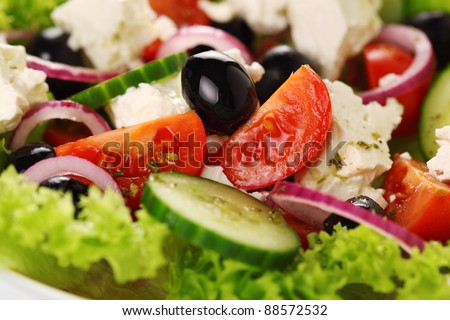 Greek salad close up - stock photo