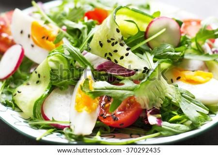 Greek salad close-up - Stock image - stock photo