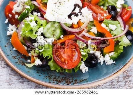 Greek salad , feta cheese.selective focus - stock photo
