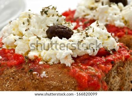 Greek Salad from Crete greece close up - stock photo