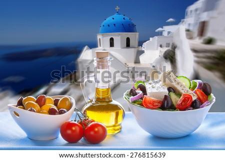 Greek salad in Santorini island in Greece - stock photo