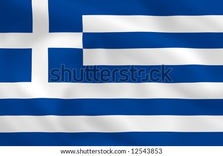 Greek satsilk waving flag (country from europe) - stock photo