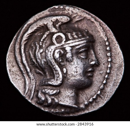 Greek Silver Coin Athens - stock photo