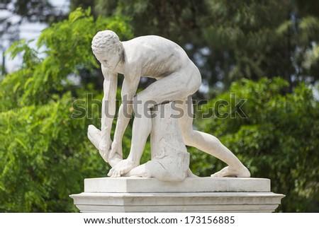 Greek statue from Panathenaic Stadium ,Athens,Greece - stock photo