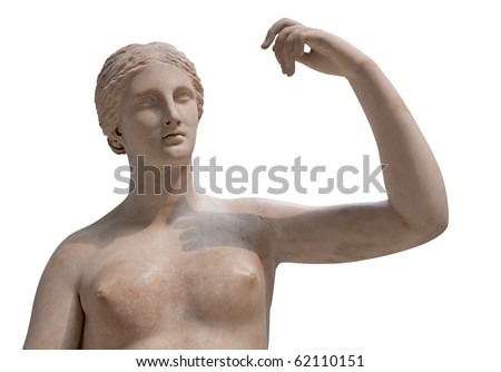 Greek statue of a nude Venus isolated on white - stock photo