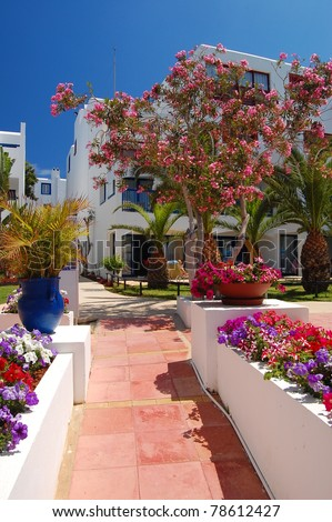 Greek style hotel in Protaras on Cyprus island - stock photo