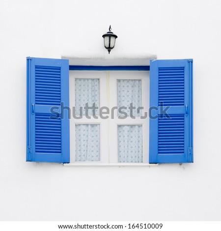 Greek Style windows - blue and white window - stock photo