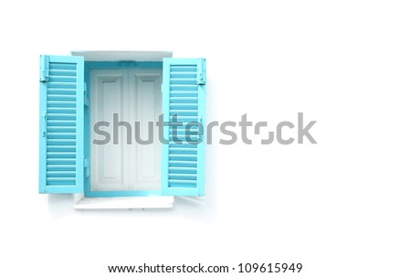 Greek Style windows  on white wall blank for text - stock photo