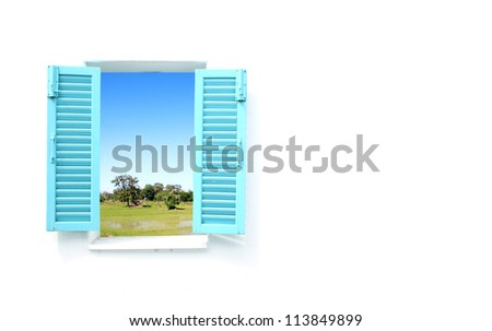 Greek Style windows  with country filed view and wall blank for text - stock photo