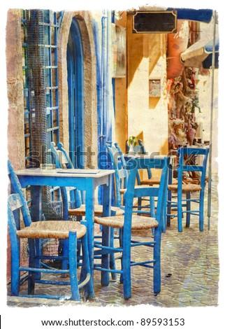 Greek tavern - stock photo