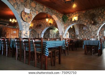 Greek tavern in Larnaca Cyprus. - stock photo