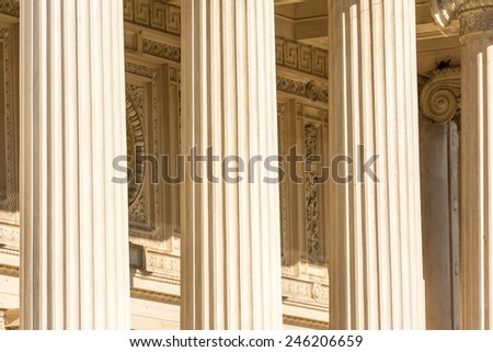 Greek Temple Ancient Stone Columns - stock photo